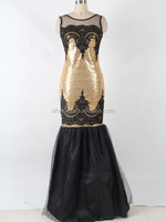 Top sell latest sexy lady gold sequin applique mermaid wedding dress
