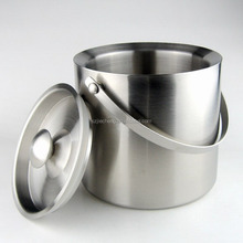 New design decorative 2L custom leather stainless ice bucket