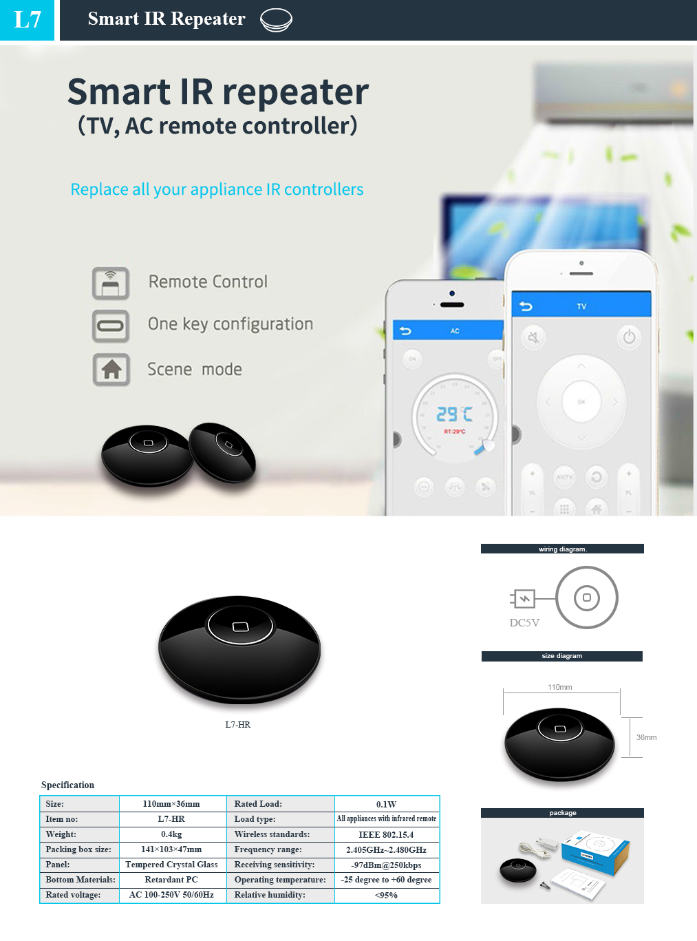Lanbon 2019 New elegant design  TV/AC remote control Wifi IR repeater for smart home system