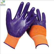 Wholesales 13G polyester Liner Nitrile half coated industrial safety glove