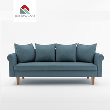 Luxury modern wholesale cheap contemporary designer sofas Nordic furniture fabric 3 seater blue living room sofa