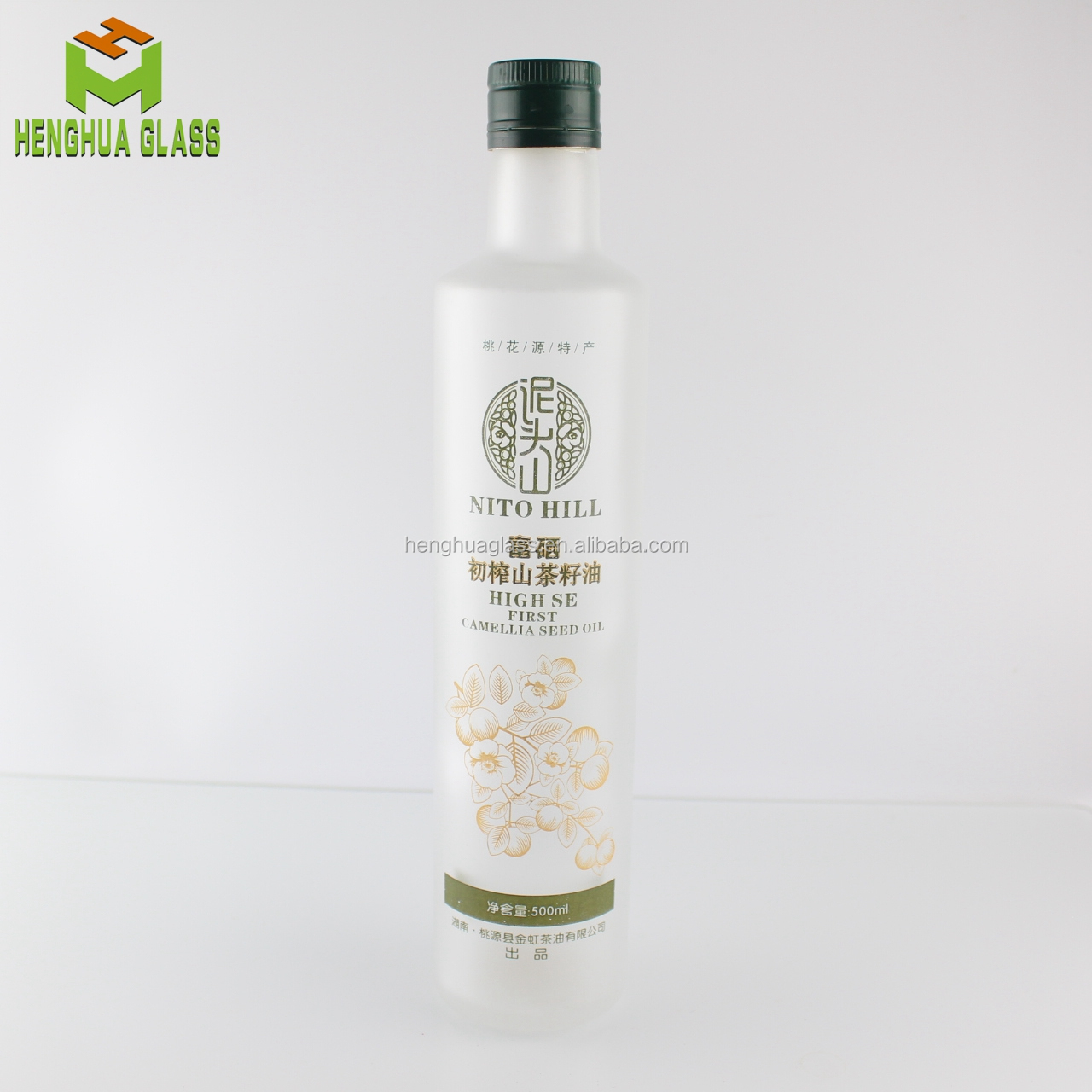 high quality 16oz 500ml round clear frost  decals cooking  olive oil  glass bottle with  cap