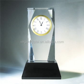 Popular crystal cube shape desk clock glass block with black base for office decoration