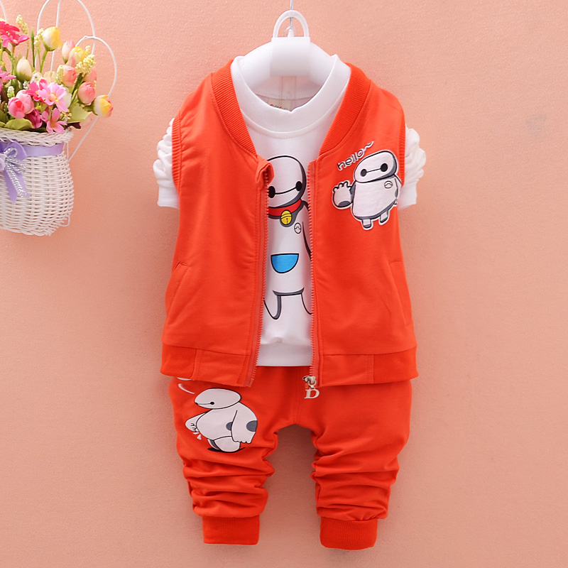 Top 2015 Autumn Newborn Baby Boy Clothes Cotton Baby Girl Clothing Set Hooded Waistcoat+T-shirt+Pants 3pcs Suitable 0-4Y Babies