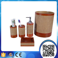 Hot Sale Classic Wood Bamboo Round Bathroom Accessories Sanitary Ware Set