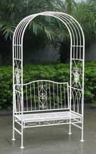 Antique White Wrought Iron Shabby Chic Garden Outdoor Arch Archway & 2 Seater Bench
