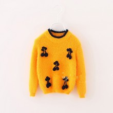C57935S Korean fashion style fancy cherry thicken kids sweaters
