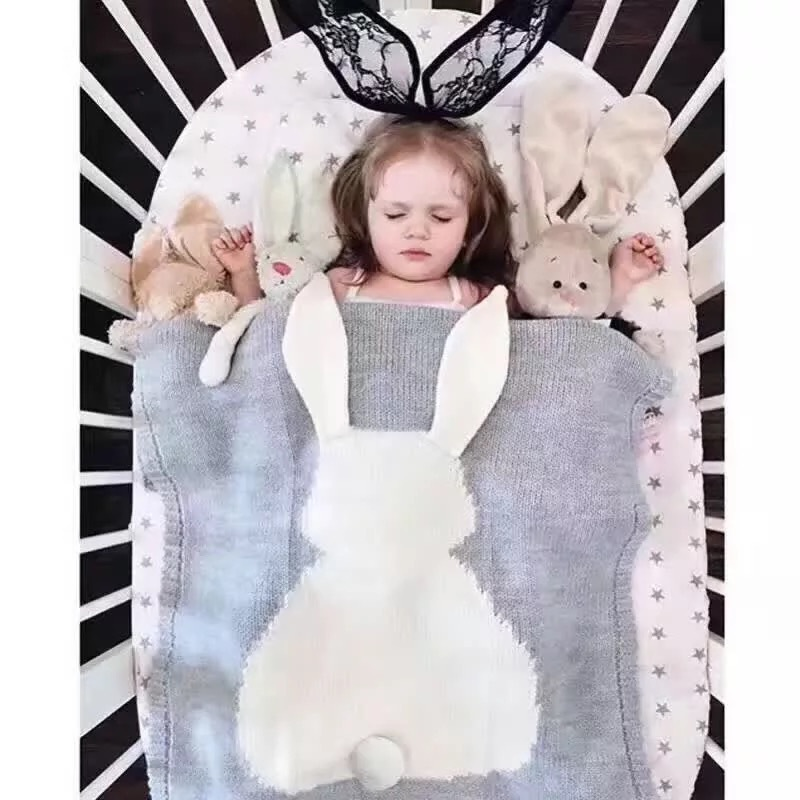 S32269W Kids Autumn Rabbit Knitted Blanket Winter Warm Bunny Swadding Girls Soft Bed Blankets