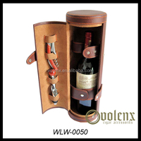 Customize handmade PU Leather Wine Box/Wine Bottle Carrier Case