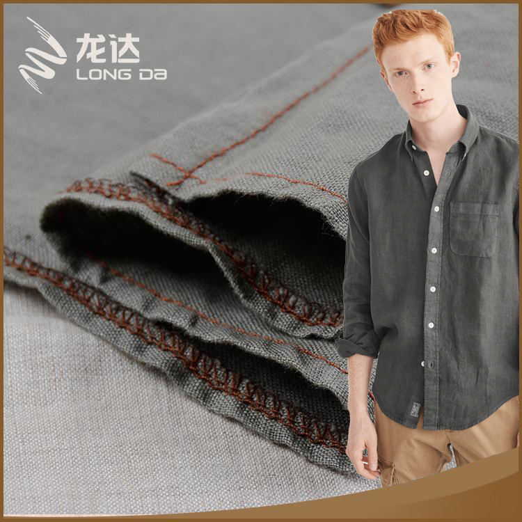 Longda Hot sale hygroscopicity woven shirt organic linen fabric