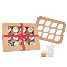 Cupcake Boxes with Insert White Bakery Boxes, Dessert Boxes for Cupcakes, Cookies, Brownies