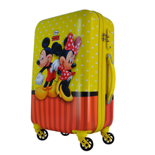 2016 four wheels abs/pc printed mickey mouse hard shell luggage