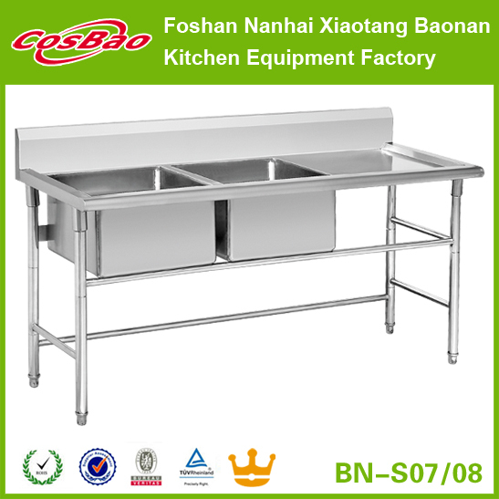 Stainless Steel Double Bowls Single Drainer Sink Units For Commercial and Industrial Kitchen Food Service Equipment