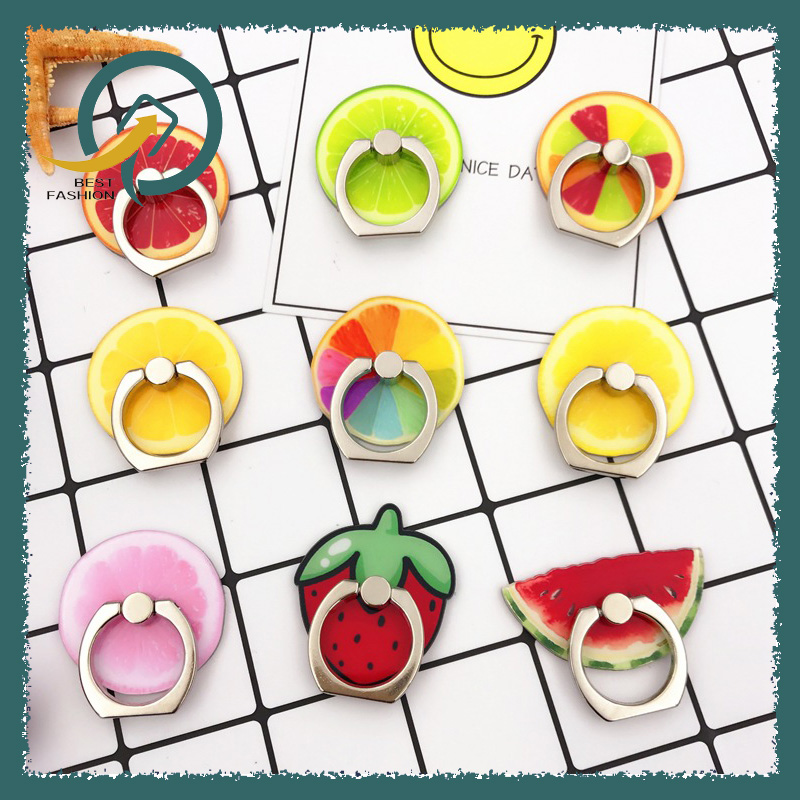 360 Degree Rotating Fruit Molder Metal Mobile Phone Ring Bracket Vehicle Universal Phone Ring Buckle Lazy Holder