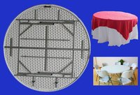 5ft white blow molded plastic portable folding round outdoor picnic table