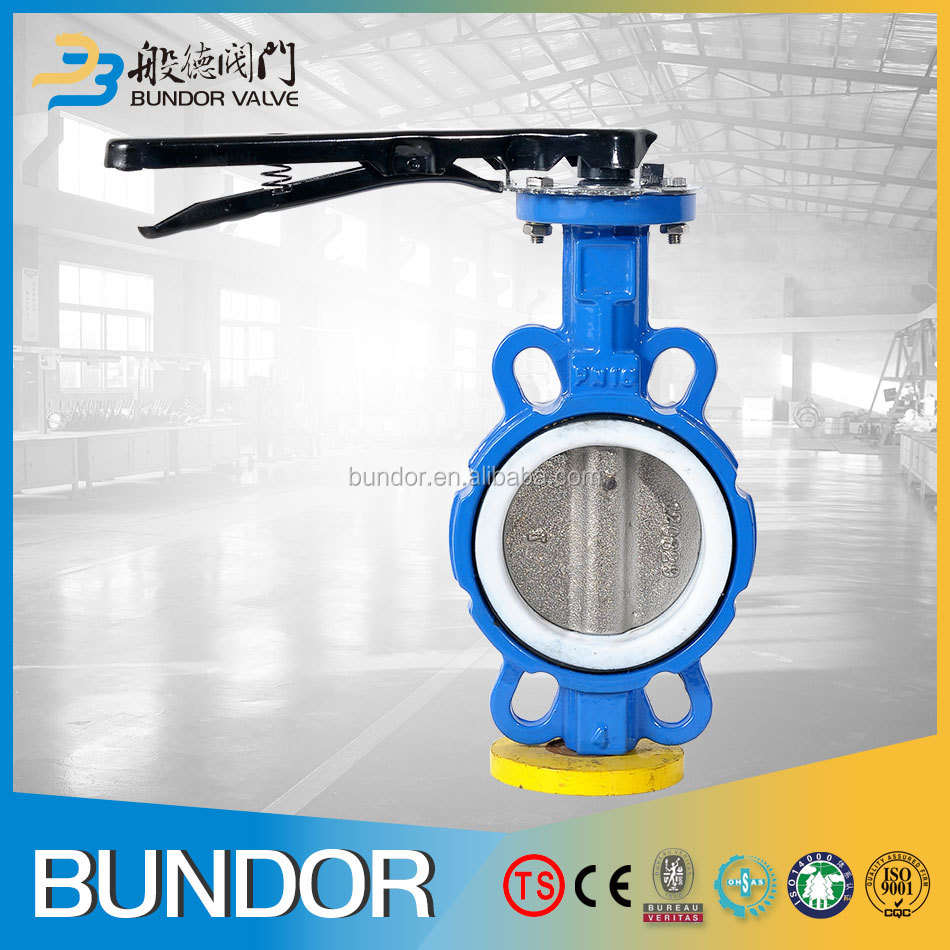 High performance handle worm gear operated 3 inch ptfe wafer type butterfly valve