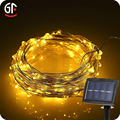 Solar Power 10M 100 Led Water Drop Warm White String Christmas Lights