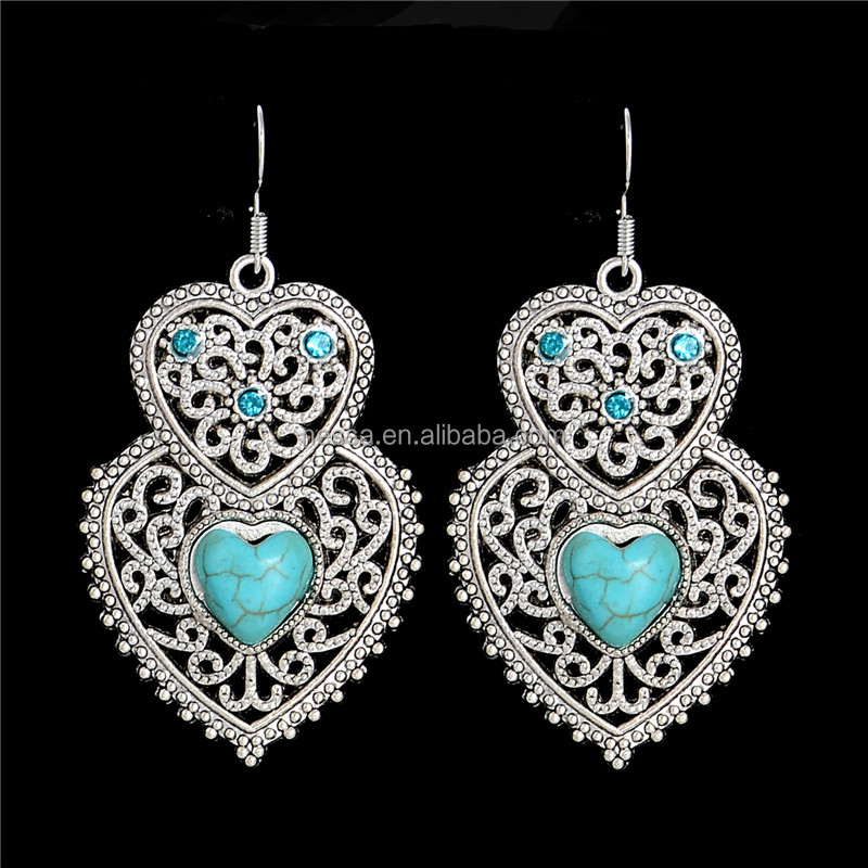 Bohemia Style Silver Plated Double Heart Hollow Turquoise Dangle earrings NSFC358A
