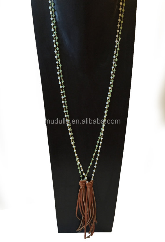 N15082701 Wholesale Fashion Jewelry Long Rosary Beaded Leather Tassel Necklace Gold Chain Connection