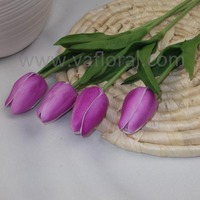 Single cheap artificial long stem tulips wholesale real touch Purple tulip flower