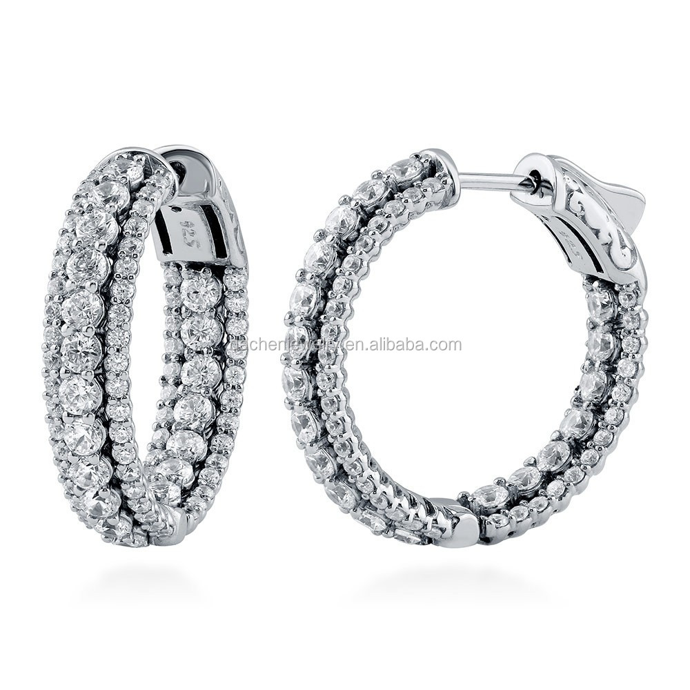 Silver Hoop Earrings with Beautiful Crystal For Party Girls