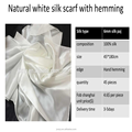 Wholesale 100% pure silk plain white silk scarf for dyeing