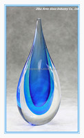Elegant Colored Glaze Shadow Tear Drop Glass / Nice Mascot Glass Crystal Water Drop Ornaments Award