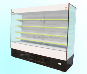 Multi-deck supermarket fruits vegetables display cooler