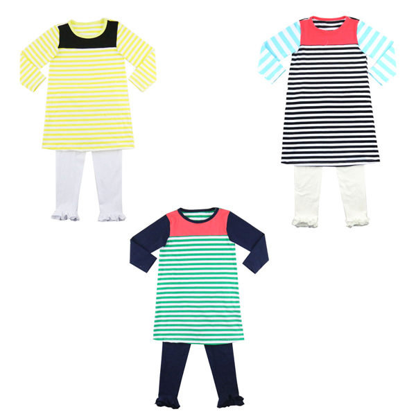 2017 new design spring summer long sleeve boy clothes clothing sets stripe cotton cheap Baby Boy Boutique