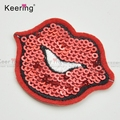Wholesale lip custom sequin embroidery patch iron-on garment WEFB-057