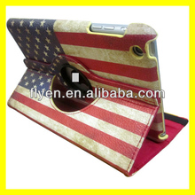 For Apple iPad Mini 1/2 360 rotating the USA Flag design Leather Case ,auto sleep wake function for ipad mini 1/2