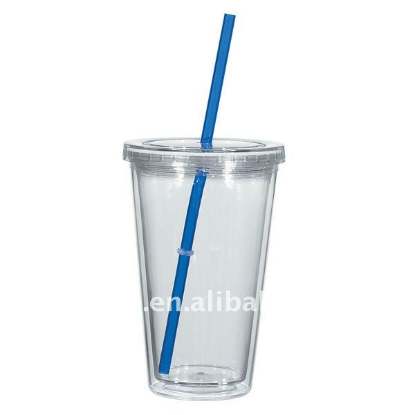 16oz clear acrylic ice mug with color straw