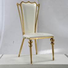 fashion white stainless steel living room chair with gold frame