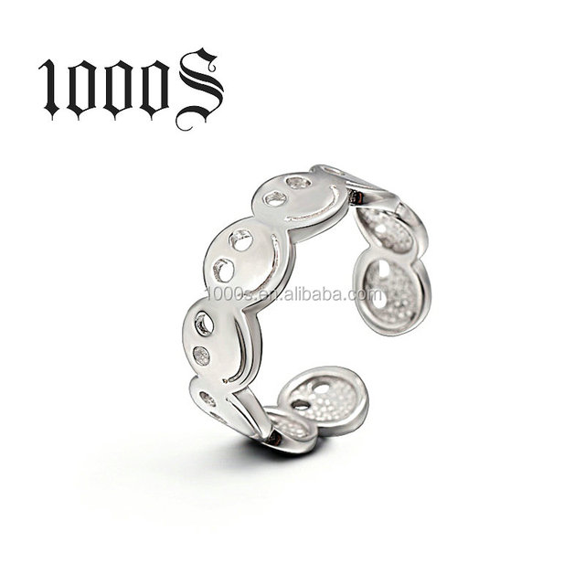 Easy Fashion Open Smile Face S925 Sterling Silver Ring Adjustable Ring for Women Party Gift Jewelry Wholesale