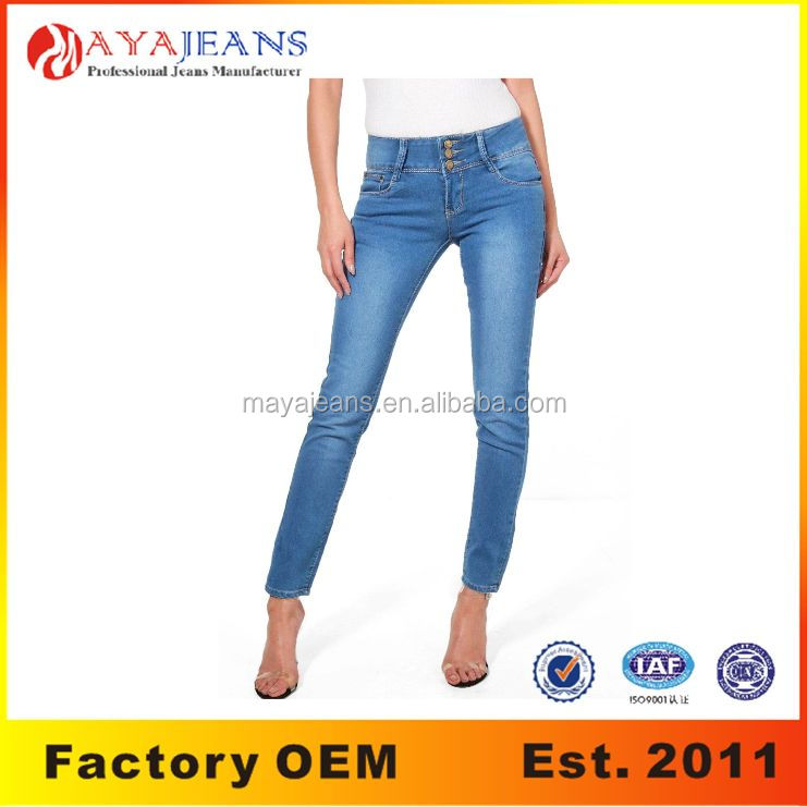 MY-012 Best quality cheap women's 3 button high rise skinny jeans factory