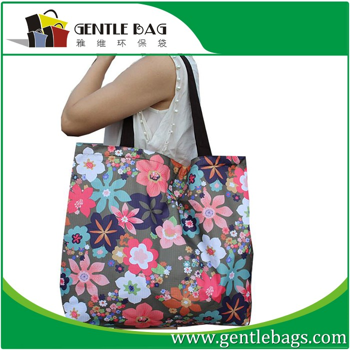 Flowers Medium Shopper Clipbag Eco gift novelty Shopping Foldable Print Bag
