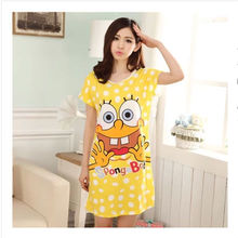 Wholesale high quality women cartoon printed nightgown
