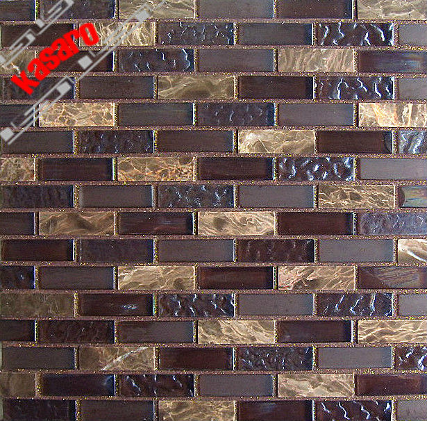 Brick Wall TilesGlass Stone Mosaic StripKitchen Backsplash Tile