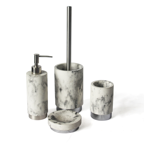 Chinese ink painting black and white marble look plain concrete toilet washing accessories