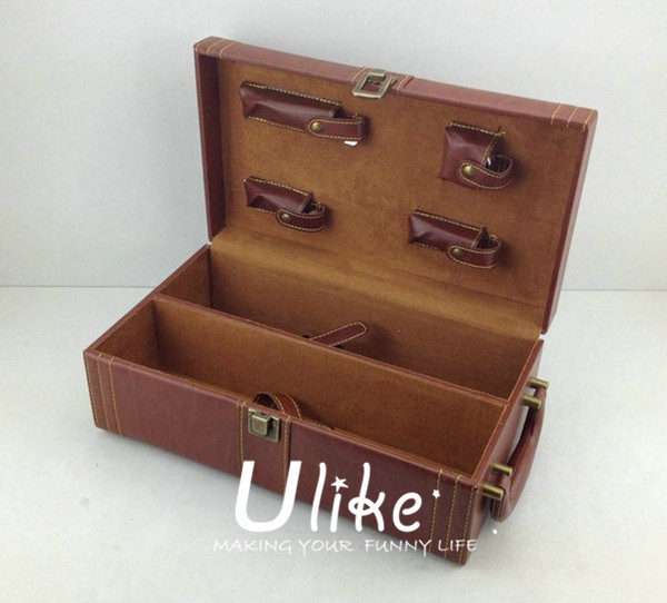 Hot Sell Fashion PU Leather Wine Gift Package With Handle leather wine box package for three bottles with wine accessories