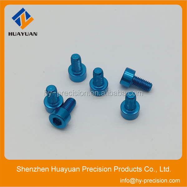 Blue anodized M3 aluminum cap head screw