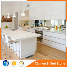 Foshan Cheap sparkle white quartz countertop Slabs