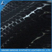 crocodile flocking pu leather for making shoe