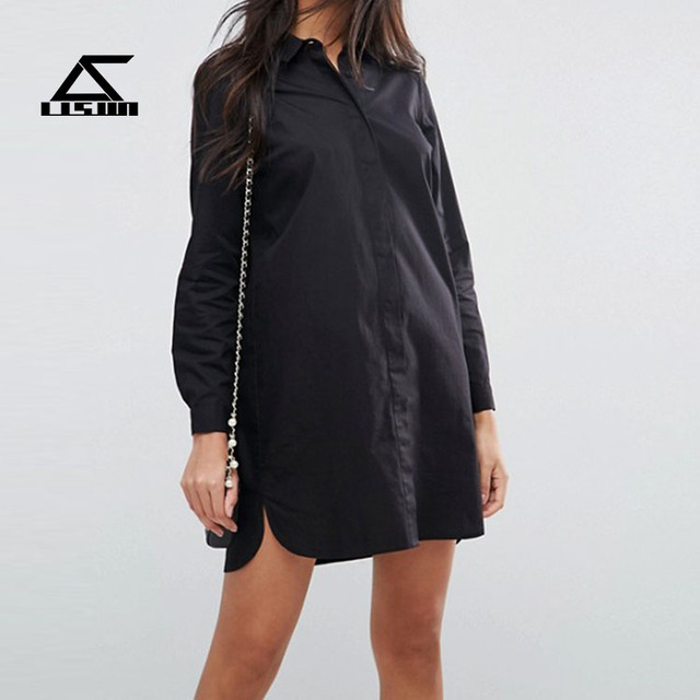 2017 OEM service women formal dress long sleeve breathable cotton fashion casual shirt dress