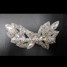 Dhorse DH-381alibaba wholesale sparkling decorative big size crystal rhinestone applique with pearls for diy hair clips