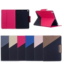 New Type Simple Contrast Color Leather Protective Cover Case For Ipad Pro 9.7 2017