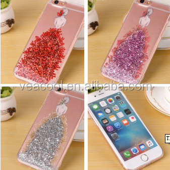 3D Fashion Girl Liquid Quicksand Solid Back Case Cover For Apple iPhone 7 /7 Plus 5.5""