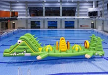 New popular Crocodile giant pool float on water inflatable water obstacle course for sale