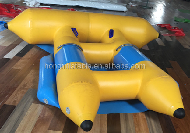 2016 Inflatable floating flying fish tube towable, fly fish banana boat for water pool toy, bouncer castle