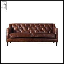 genuine leather button tufted hotel lobby sofa